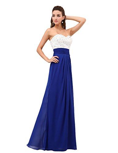 Dresstells, Robe de demoiselle d'honneur/soirée chérie en Mousseline de Soie, Sans Bretelles, avec cristal Bleu Saphir