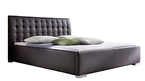 sette notti Polsterbett 140×200 cm Braun, Bett mit XXL Kopfteil, Boxspringbett-Optik, Kunstleder Bett Liegefläche 140 x 200 cm, ISA Art Nr. 264-10-30000