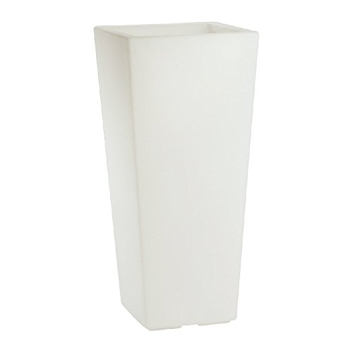 hydroflora 63005505 Maceta luminosa LED Nicoli Eros Light 30 x 30 x 60 cm, ideal para entornos interiores, blanco cálido