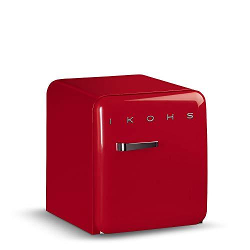 IKOHS Retro Fridge Réfrigérateur design avec contrôle de température réglable, étagères interchangeables, style vintage des années 50, classe énergétique A+ 50 cm rouge