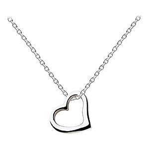 Dew Damen-Halskette, Sterling-Silber 925, vergoldet, offenes Herz, 45,7 cm