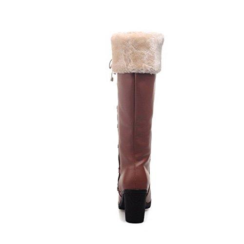 AgooLar Damen Hoher Absatz Blend-Materialien Rein Reißverschluss Rund Zehe Stiefel, Schwarz, 34