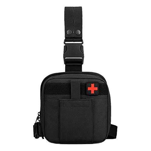 Molle Beintasche Militär Erste Hilfe Tasche Taktisch Hüfttasche Medizintasche Wasserdicht für Outdoor Wandern Trekking Camping - Schwarz