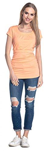 Happy Mama. Femme T-Shirt de Maternité Allaitement Double Couches Col Rond. 136p Abricot
