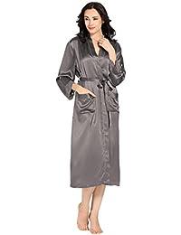 LILYSILK Robe De Chambre en Soie Femme Peignoir à Manches Longue avec  Ceinture Dentelle Décoratif Robe c5ec263c47c5