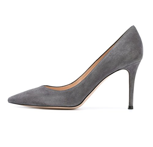 EDEFS Damen High Heels Klassische Pumps Geschlossene Spitze Zehen Übergröße Schuhe 8cm Absatz Grau