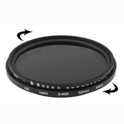 Movoja 52mm Variabler ND-Filter | ND 2 bis ND 400 | Graufilter ND2 ND4 ND8 ND64 | bspw. für Nikon D40 D3000 D3100 D5100 K-5IIs K-30 Canon EF-M18 | Kamerafilter Neutralgraufilter Neutral Dichte Filter
