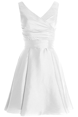 MACloth Women Pleated Taffeta Short Cocktail Dress Bridesmaid Wedding Party Gown Weiß