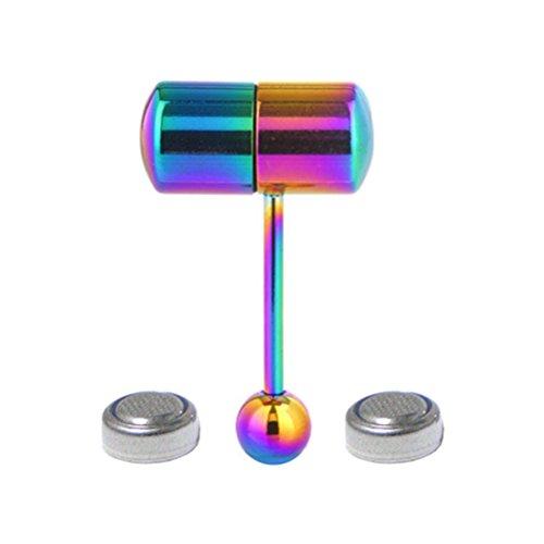 BESTOYARD Edelstahl vibrierende Zunge Ring Barbell Zunge Piercing Schmuck mit 2 Batterien (bunt)