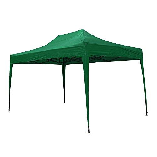 JOM Gartenpavillon, wasserdicht, 3 x 4,5 m, Falt-Pavillon Mallorca, Material Oxford 420D innen beschichtet, grün