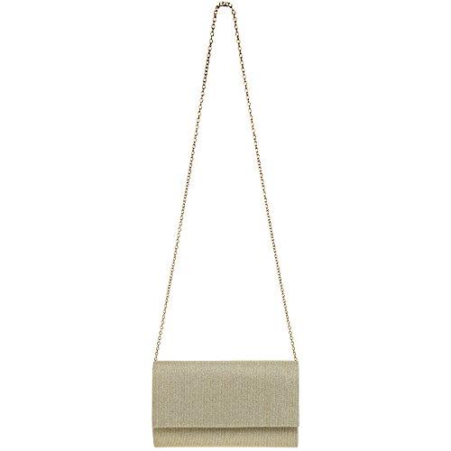 5eb1dc5699e66 ... CASPAR TA400 Damen elegante Glitzer Stoff Envelope Clutch Tasche    Abendtasche mit langer Kette Champagner ...