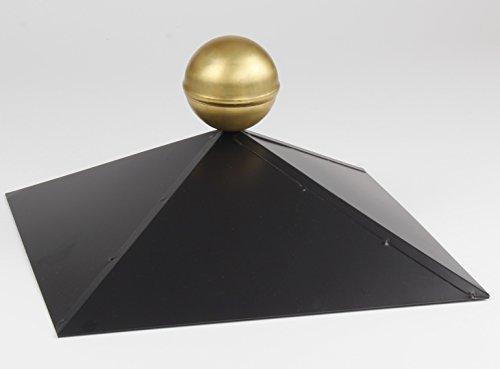 Pavillon-Haube 4-Eck mit Messingkugel, Firsthaube schwarz matt