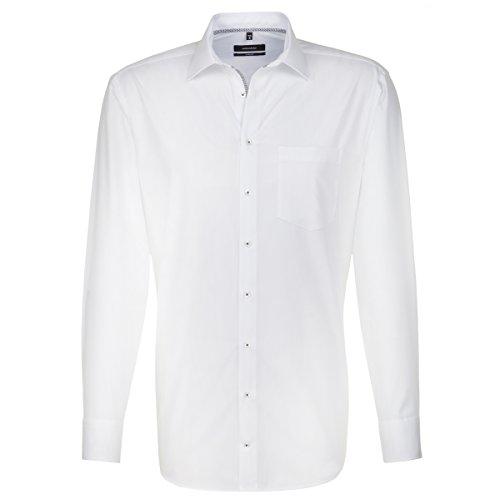 SEIDENSTICKER Herren Hemd Comfort 1/1-Arm Bügelfrei Uni / Uniähnlich City-Hemd Kent-Kragen Kombimanschette weitenverstellbar weiß (0001)