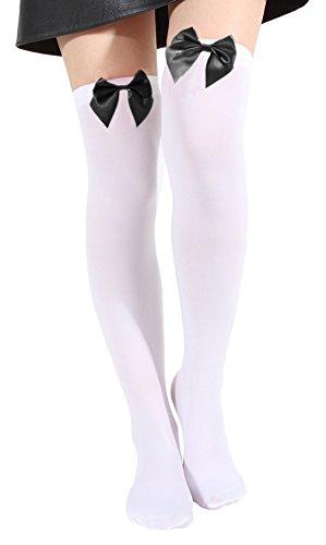 Hohe Kostüme Damen Knie (EOZY Damen Kniestrümpfe Cosplay Overknee Strümpfe Schleife Socken)