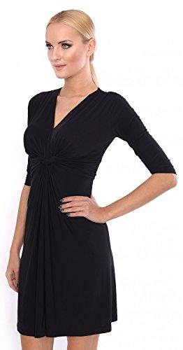 Glamour Empire. Damen Seidig Gerafftes Kleid Skaterkleid mit Knotendetail. 067 Schwarz