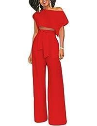 Mujer Verano Traje 2 Piezas Camisetas Manga Corta Blusa Crop Tops + Elegante Pantalones Pierna Ancha Largos con Cinturón para Playa y Fiesta Cóctel Party Clubwear Noche