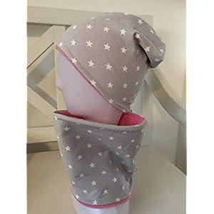 Beanie Set Loop Kinder Sterne Mädchen Schal Mütze grau