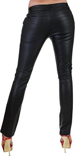 BD Damen Leder-Look Hüfthose gerades Bein in Schwarz mit Ziertaschen 34 XS - 42 XL Schwarz