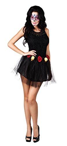 ,Karneval Klamotten' Tutu Tüll-Rock Day of the Dead / Dia de los Muertos Halloween Gothic Damen Kostüm (Dia De Halloween)