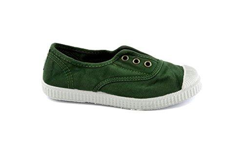 CIENTA - Chaussure verte en tissu, made in Spain, pièce élastique sur la partie frontale, œillets dorés, logo à l'arrière, garçon, garçons