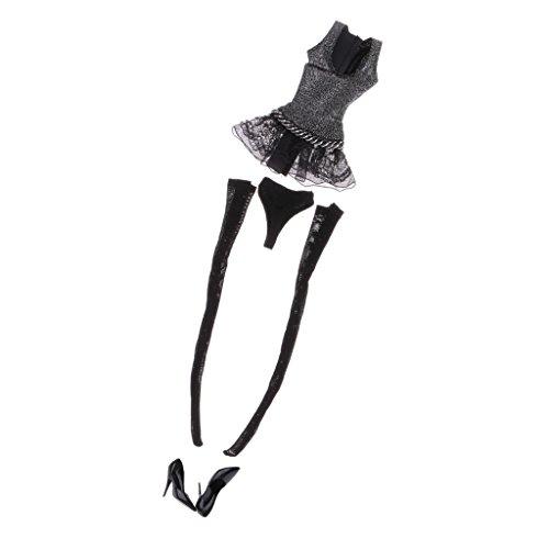 MagiDeal 1/6 Tanzkleid Kleider Set, Inkl. Kleid, Slips, Strümpfe, High Heels - Kleidung Für 12 \'\' Weibliche Actionfigur - Schwarz