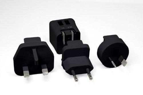 Dual USB Reise Adapter Set 3.1A 15W inkl. Mikro-USB Ladekabel Reisestecker Set für EU USA UK China AUS NZ für Apple iPad, iPad 3 iPad 2 iPhone 5C iPhone 5S Android Geräte Samsung Galaxy (Schwarz)