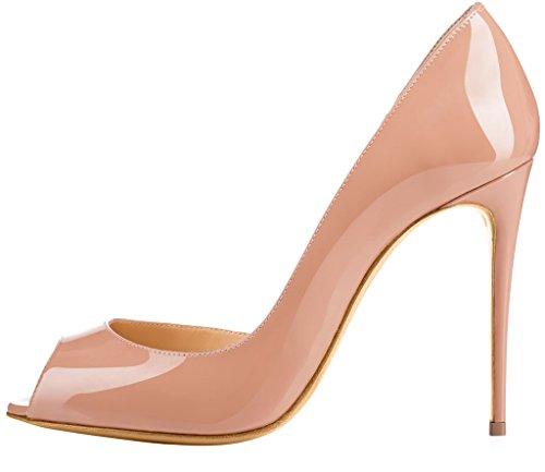 Calaier Femme Cawait 10CM Aiguille Glisser Sur Escarpins Chaussures Beige