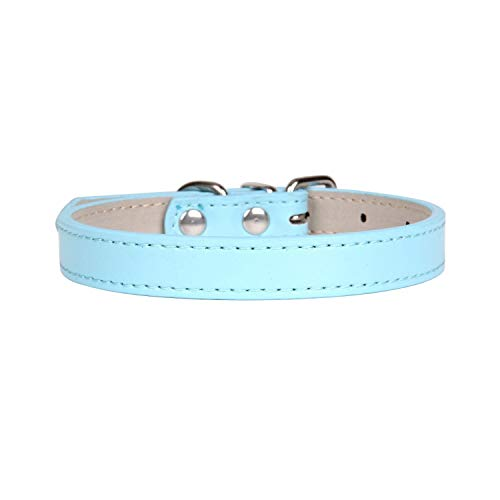 Haustierhalsband, Halsbänder für Hunde, Hot!Pet Product Soft Leather Dog Collar Adjustable Puppy Cat Necklace Leash Strap For Small Medium Big Dog 16 Color Pet Supplies Light Blue Light Blue -