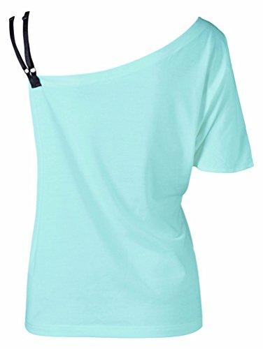WanYang Maglietta Donna Manica Corta Farfalla Stampe Blusa Asimmetrico Allentato Delle Parti Superiori Blu