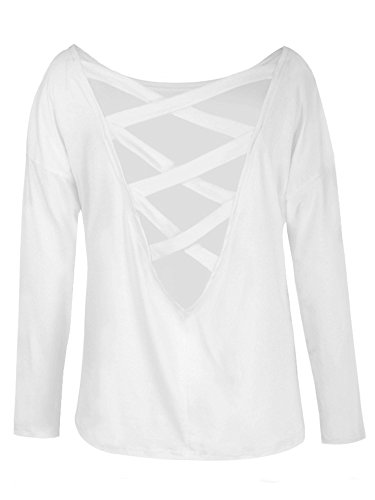 Elevesee Femme Printemps Col Rond Manches Longues Shirt Tops Casual Chemisier Sexy Creux V Arrière Blouses Backless T-shirt Blanc