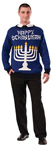 Forum Novelties Men's Plus Size Lite-Up Menorah Chanukah Sweater, Multi, X-Large