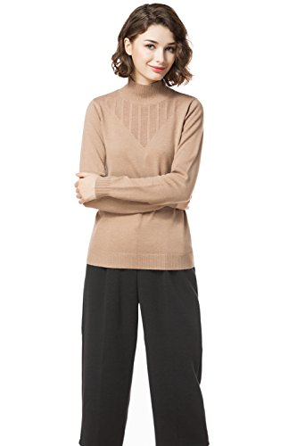 Knitbest Damen Pullover Gr. 38, camel (Pointelle Plus Womens)
