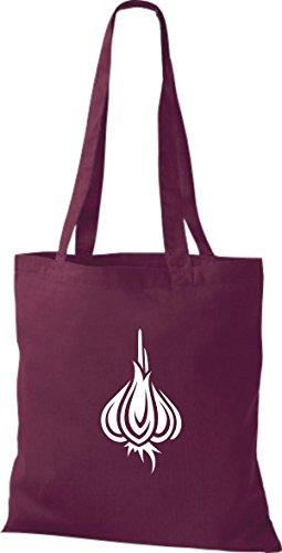 T-shirt Di Stoffa Di Cotone Tinta Unita La Tua Frutta E Verdura Preferita Colore Dellaglio Aglio Colore Rosa Vino Rosso