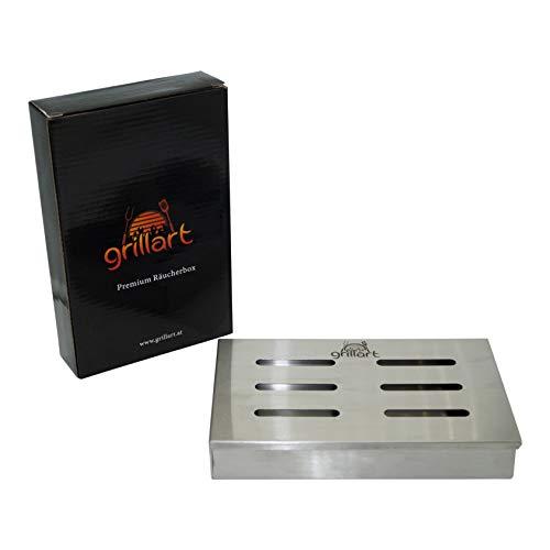 Grillart originale bbq affumicatore in 100% acciaio inox/smoker box/aroma box accessori per gas, sfera grill e barbecue a carbonella per barbecue/grill/dimensioni 21x 13x 3,5cm