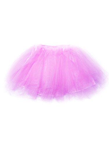 Camilady Damen Mädchen Tutu Rock Asymmetrisch Kurz Tüllrock Minirock für Karneval Fasching Cosplay Party Kostüm - Hell ()