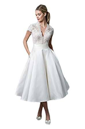 Engerla donne profondo scollo a V kappenhuelse pizzo abito da sposa corti   Amazon.it  Abbigliamento 0cf43385155
