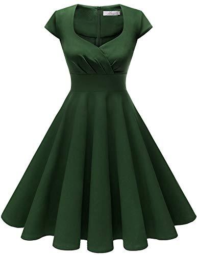 HomRain Damen 50er Retro Vintage Rockabilly Cocktail Party V-Ausschnitt Abendkleid Dark Green L