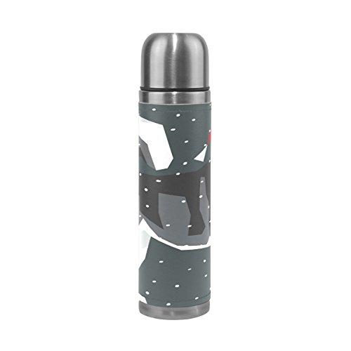 Bennigiry alaskan malamute in cappello di babbo natale stampa a doppia parete in acciaio inox isolato vuoto bottiglia d' acqua, in pelle pu viaggio tazza termica a prova di perdite thermos cup, 481,9gram