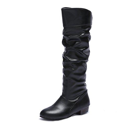 DAFENP Damen Klassische Langschaftstiefel Stiefel Lederoptik Flach Stiefel Schuhe,DP-XZ739-Black-EU40 (Lange Stiefel)