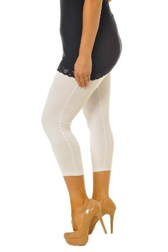 Neu Damen Übergröße Ebene Geerntet Gamaschen Frau Ladies Plus Size Cropped Leggings Nouvelle Collection Weiß