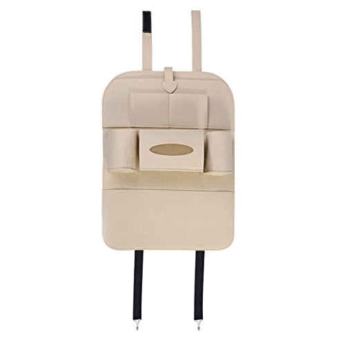 Preisvergleich Produktbild VORCOOL Backseat Organizer Felt 6-Pocket Kids Toys Car Back Seat Travel Storage Bag for iPad Tissue Box Pen (Beige)