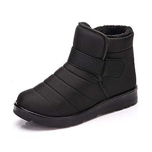 PAMRAY Winter Boots Unisex Ankle Booties Sports Shoes High Top Warm Fleece Lined Waterproof Outdoor Velcro Snow Skating Footwear Platform Black Brown Wine-red EU 34 – EU 43