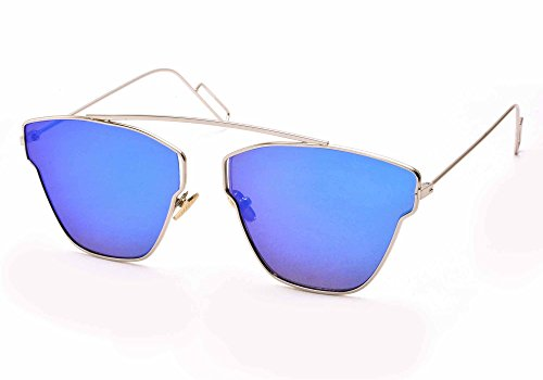 Stacle Ultra Light Pantos Shaped Flat Lens Metal Aviator Unisex Sunglasses(St7827Silver.Bluemir|Transparent)