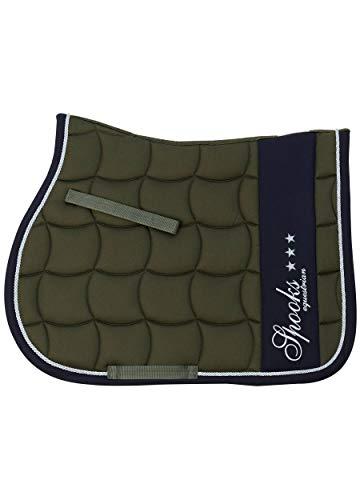 SPOOKS Schabracken, Saddle Pad, Sattelpad, Satteldecke, Dressur, Springen, Pferde, Springschabracke, Turnierschabracke - Milano olive/navy