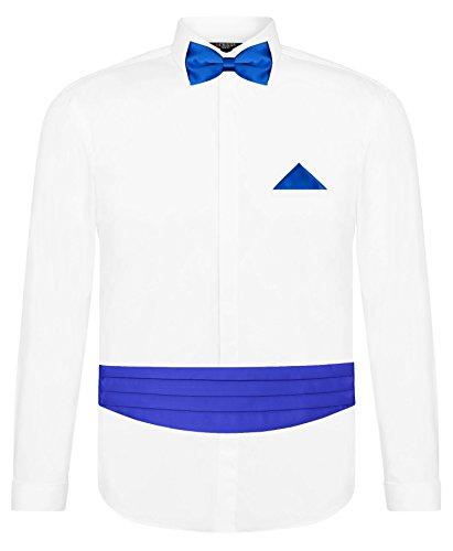 CRIXUS Herren Hemd Weiß Slim Fit Manschettenhemd + Kummerbund Set in Hell Königsblau Blau- 5 teilig - Anzug Schärpe (XL - Kragenweite: 43/44)