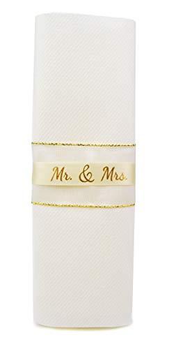 12 Stück Servietten Mr & Mrs Weiss (Milchweiss) Gold (1,00€/Stück) stoffähnlich fertig gefaltet dekoriert mit Band Hochzeit Hochzeitsservietten 40 x 40 cm Dinner Deko Wedding Napkins 00 Band