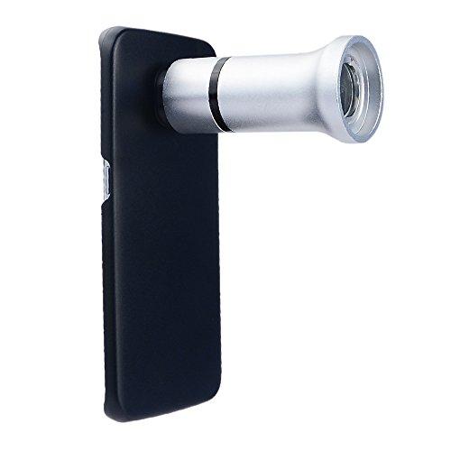 Apexel 60x Schmuck Mini Mikroskop Objektiv mit LED/UV-Licht und Back Schutzhülle für Samsung Galaxy S6Edge, silber, Flower& Insects -