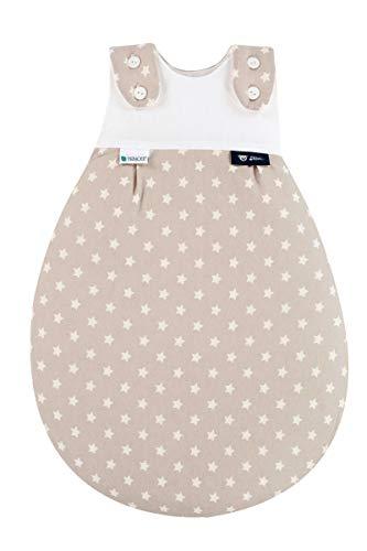 Alvi Baby Mäxchen Außensack Tencel/Baby-Schlafsack mitwachsend & atmungsaktiv/Sommerschlafsack & leichter Schlafsack klimaregulierend, Größe:56/62, Design:Stars beige -