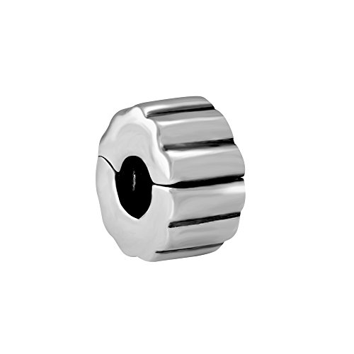 Quiges 925 Sterling Silber 3D Bügelverschluss Stopper Charm Bead