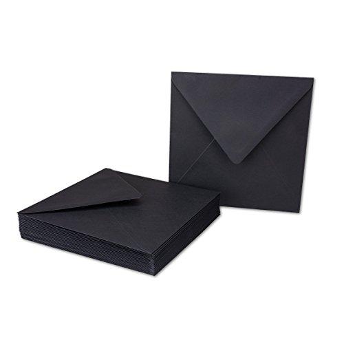 Schwarzes Quadrat Post (100x Quadratische Umschläge / Schwarz, schwere Qualität - sehr Stabil - 110 g/m², 155 x 155 mm, Nassklebung, spitze Klappe // Aus der Serie FarbenFroh von NEUSER!)